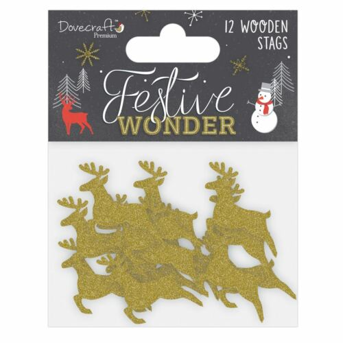 Dovecraft Premium FETE Wonder Christmas Collection-papillons en bois cerfs