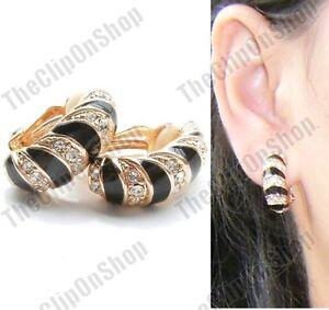 CLIP-ON-black-GOLD-FASHION-enamel-HUGGIE-EARRINGS-black-zebra-CLIPS-half-hoop