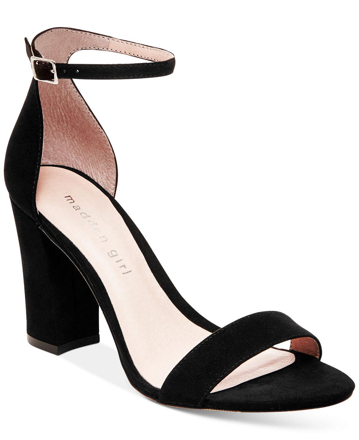 Madden Girl Beella Block Heel Sandals Black Fabric shoes Size 8