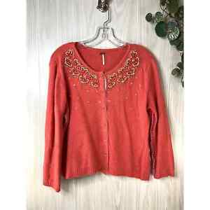 Free People Wool Angora Beaded Cardigan Sweater Women's Size S Coral
