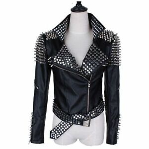Womens Fixed Fashion Handmade Jacket Studded Leather Vintage Hand Silver d6T1anH1