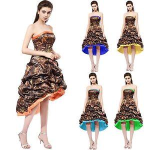 48e7b1e5b41 Camo High Low Prom Dress Formal Gown Mini Bridesmaids Dresses ...
