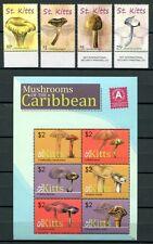 ST. Kitts 2010 funghi con i funghi MUSHROOMS piante plants post FRESCHI MNH