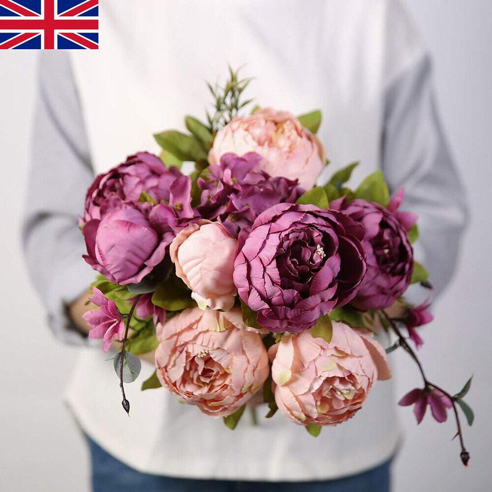 13 Heads Silk Big Peony Artificial Flowers Wedding Home Garden Party Decor Uk Ebay