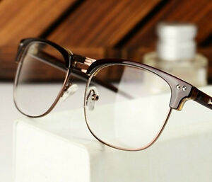 Fashion-Retro-Semi-Rimless-Frame-glasses-Clear-Lens-Nerd-Geek-Eyewear-Eyeglass