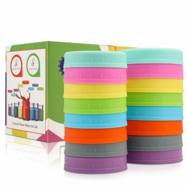 Aozita [16 Pack] Colored Plastic Mason Jar Lids Fits Ball, Kerr  More - 8 Wide