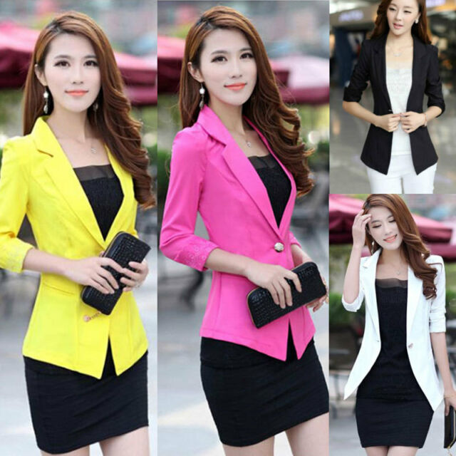 Womens Blazer 3/4 Sleeve Suit Lapel Collar Slim One Button Jacket Coat Outwear