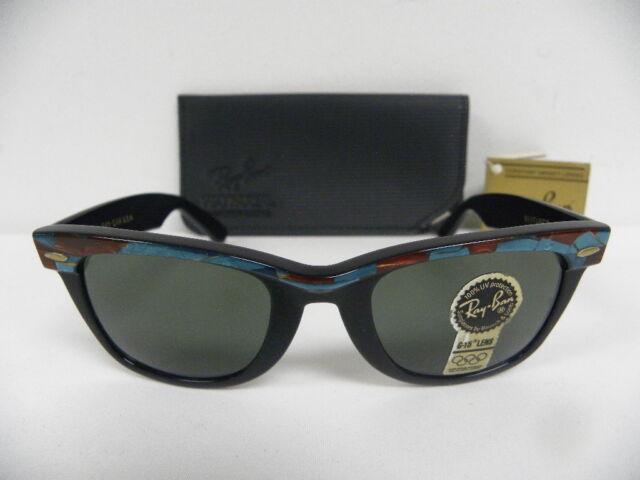 41ef32b1f3 New Vintage B L Ray Ban Wayfarer Turquoise Mosaic Ebony Street Neat W1088  50mm