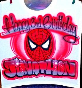 e04c954d La foto se está cargando Camisa-De-Cumpleanos-Con-Aerografo-Spiderman -Personalizado-con-