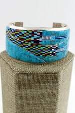 Navajo Sterling Turquoise Micro Inlay Yei Multi Stone Bracelet 6000+ Stones, NG