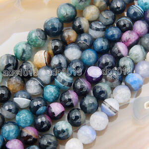 10MM BLUE AGATE GEMSTONE SPIDER WEB BLUE FACETED ROUND 10MM LOOSE BEADS 15/""