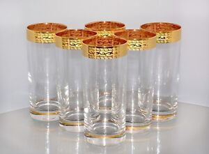 6 verres, Bohemia CRISTAL, décor or bord, peintes à la main en or, NEUF  </span>