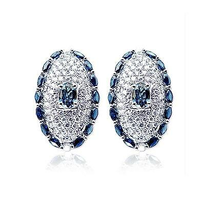 18k White Gold 5.27 TWT Diamonds and Blue Sapphire Oval Stud Earrings