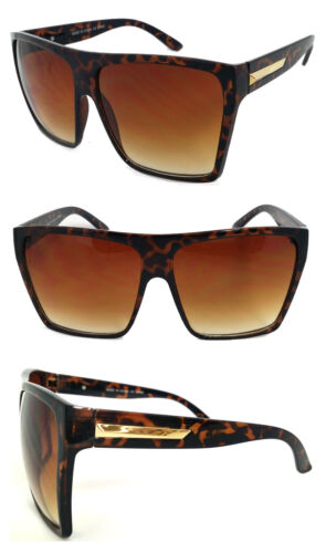 Tortoise Extra Large Men Women Flat Top Oversize Retro Square Sunglasses Funky