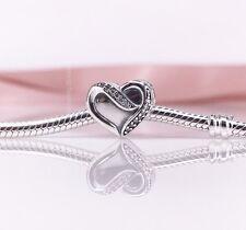New Genuine Pandora Silver Ribbon Of Love Heart Charm 791816CZ
