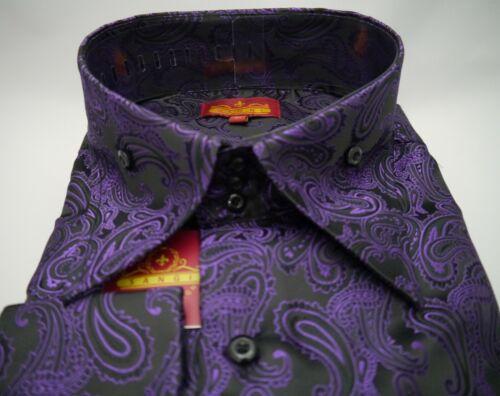 Mens Black Purple Paisley High Collar F//C Shirt SANGI MILAN COLLECTION # 2042