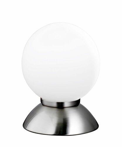 ACTION Tischleuchte Pluto E14 Nachttischlampe Kugel Opalglas Schalter Nickel LED