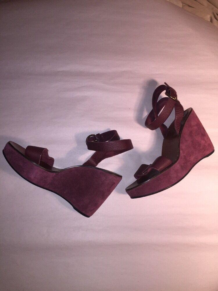 CLEARANCE SALE MIU MIU Größe 9 burgundy 1 2 burgundy 9 suede WEDGE HEELS ankle strap  750 d33f5a