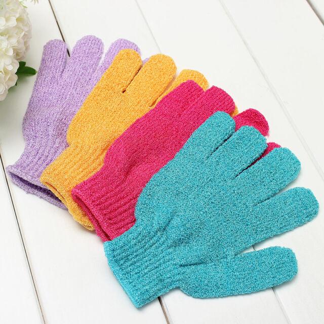 4x Exfoliating Bath Glove Shower Skin Care Back Body Scrub Cleaning Massage Mitt