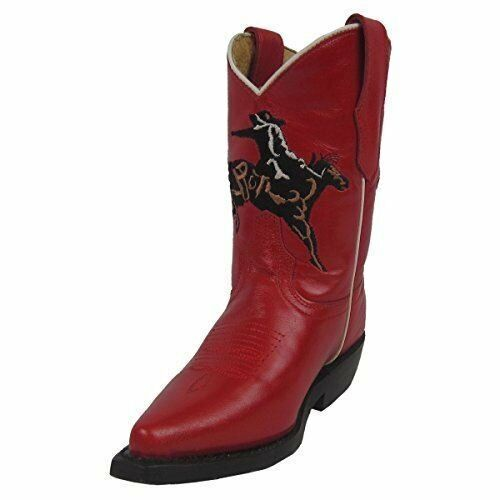 CORRAL Kids' Red Bronco Embroidered Snip Toe Cowboy Boots G1054