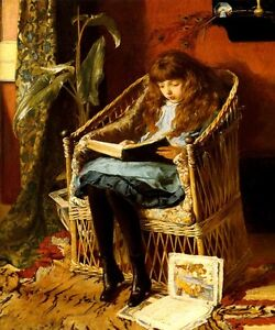 FAIRY TALES GIRL READING BOOKS CHILDREN 1880 PAINTING BY MARY GOW ...