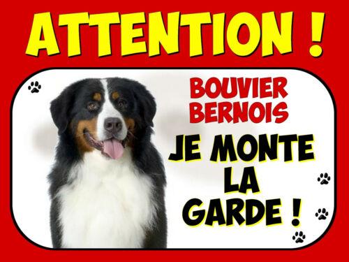 Plaque en aluminium Attention au chien Bouvier bernois