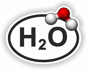 H2O Oval Sticker Water With Chemical Formula bumper decal ... H2o Chemical Structure