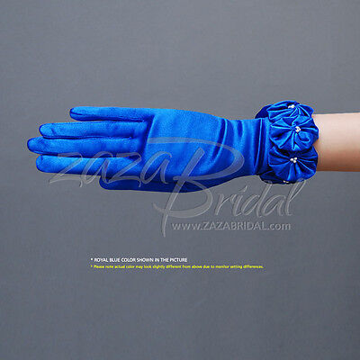 Elegant Women's Shiny Stretch Satin Gloves with Flowers Trimmed Pearls in Center