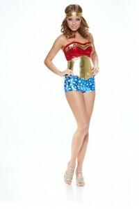 Sexy Superhero Damen-Kostüm Wonder Girl mit Pailletten Comic Heldin Woman