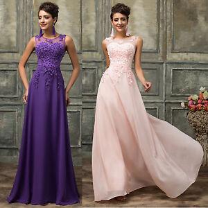 Long Chiffon WEDDING Bridesmaid Party Cocktail Evening Dress PLUS Size 2-16-18+
