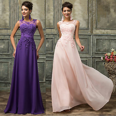 Applique Long Lace Bridesmaid Formal Wedding Evening Prom Party Ball Gown Dress
