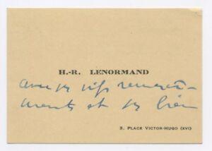 Lettre Manuscrite Henri Rene Lenormand Sur Carte De