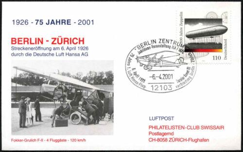 Germany 2001 Flight Cover To Switzerland #C43481