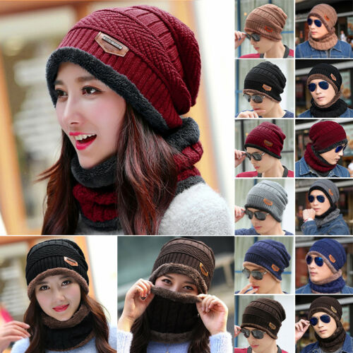 Mens Womens Beanie Scarf Set Fleece Lining Knit Hats Warm Thick Winter Ski Caps