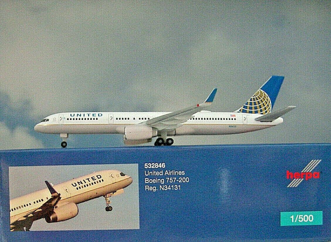 Herpa Wings Wings Wings 1 500  Boeing 757-200 United Airlines N34131 532846 Modellairport500 fa06ab