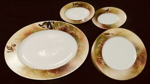 13-Pc-Limoges-Flambeau-LDBC-France-Game-Bird-Plate-amp-Platter-Set-Leonce-Ribiere