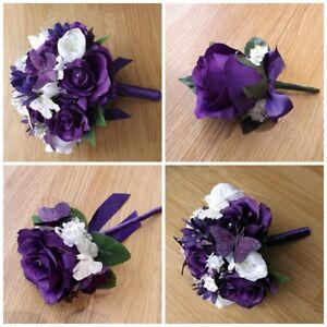 Bouquet Sposa Viola.Butterfly Viola Nozze Fiori Bouquet Sposa Damigella D Onore