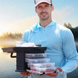 AM/_ 4 LAYERS FISHING TACKLE BOX LURE STORAGE TRAY BAIT CASE TOOL ORGANIZER BULK