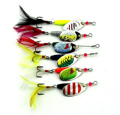 Lot 6pcs Spoon Metal Fishing Lures Set Spinner Baits CrankBait Bass Tackle Hooks