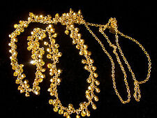 KATE SPADE INTRICATE GOLDEN CITRINE YELLOW TINY CRYSTALS LONG NECKLACE PAVE BOW