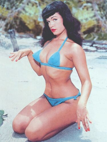 Bettie Page On Beach Blue Bikini 18 x 24 Poster FREE SHIPPING #1023