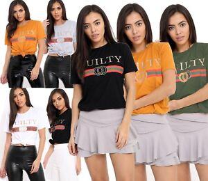Womens Ladies Celeb Designer Slogan Printed Short Sleeve Pullover Tee Shirt Top