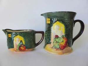 Antique-1920-039-s-Royal-Doulton-Collectors-Moorish-Gateway-Jug-amp-Creamer-Set