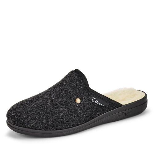 Thiesana Herren Rex Hausschuh PantoffelnWinter Microvelours Uni Schuhe anthrazit