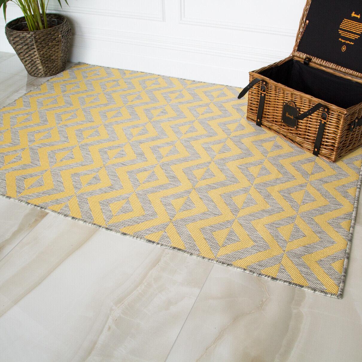 Moderno Grigio Giallo Ocra stampa geometrica tappeti NUOVO Flatweave Indoor grande Area Tappeto DA TAVOLO