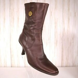Carlos Santana Brown Leather Boots Size 7 M Womens Kitten Heel Riveria Rubber