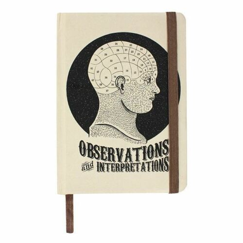 Observations & Interpretations Phrenology A6 Lined Vintage Style Notebook Pad