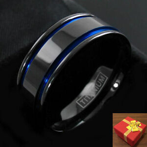 Black Titanium Ring. Double Blue Channels, Wedding Band, 8MM Size 8-15