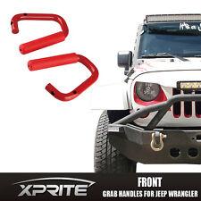 Red Steel Front Handle Grab Bars For Jeep Wrangler 07-17 JK Unlimited 2DR 4DR