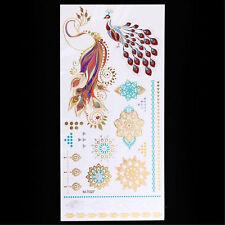 ROSE ORO Henné peacok BIRD METALLICA tatuaggi temporanei IMPERMEABILE ADESIVI KIT